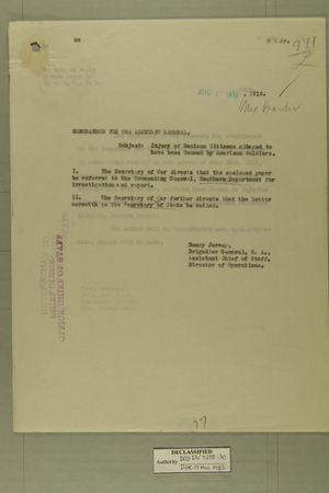 Memo from Henry Jervey re: Injury of Mexican Citizens Alleged to Have Been Caused by American Soldiers, August 1, 1918