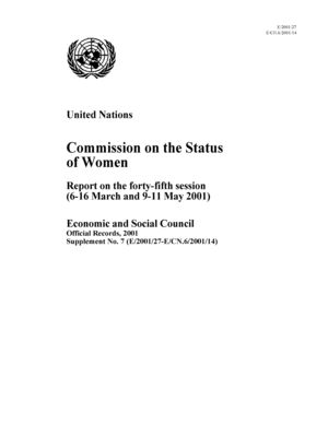 Report on the 45th Session, New York, 6-16 March and 9-11 May 2001