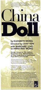 Handbill for China Doll by Elizabeth Wong at Music Center Annex, Los Angeles, CA, February 26, 1996. Directed by Chay Yew, starring Margaret Cho.