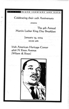 The 9th Annual Martin Luther King Day Breakfast, January 19, 2004