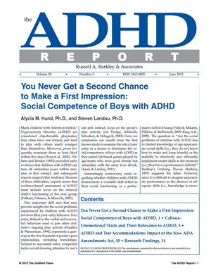 ADHD Report, Volume 20, Number 03, June 2012