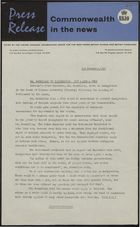 Press Release - Commonwealth in the News - Mr. Macmillan Says Immigration Now at 4,000 per Week, November 1, 1961