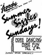 Apache Summer Sizzles Sundays flier and notes