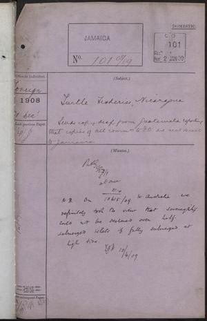 Correspondence Cover Sheet re: Nicaraguan Turtle Fishery, December 31, 1908