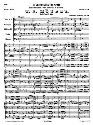 Divertimento No 10 in F Major, K247 (Full Score)