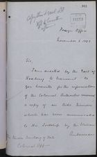 Memo from P. W. Currie to Under Secretary of State, Colonial Office, re: Italian Warship, 'Etna,' November 06, 1893