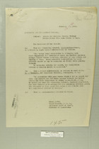 Memo from Henry Jervey re: Escort for Mexicans Passing Through United States from Agua Prieta to Naco, February 19, 1919