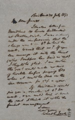 Letter from Robert Logan Jack to James Love, July 30, 1893