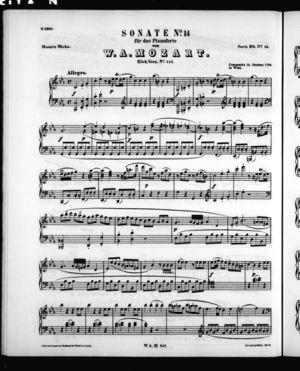 Sonate No. 14 für das Pianoforte