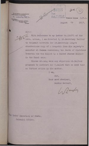 Correspondence re: Killing of Gladstone Brereton by United States Soldier in Canal Zone, May 31-August 4, 1917