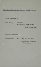 Ambassador and Mrs Meyer's Social Schedule, December 16, 1966