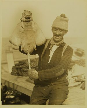 Photograph of fisherman holding up a fish called Kaiser