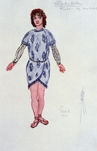 Costume design for one of the Three Youths or Genii, 1913. 'The Magic Flute' ('Die Zauberflote'), opera by Wolfgang Amadeus Mozart (1756-1791) with libretto by Emanuel Schikaneder (1751-1812) was first produced in Vienna in 1791. The plot has overtones of Freemasonry. Some say Queen of the Night is based on the Empress Maria Theresa (1717-1780). Design for a 1913 production at the Paris Opera.