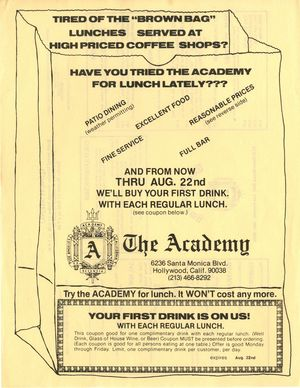 The Academy Lunch Menu and Drink Coupon