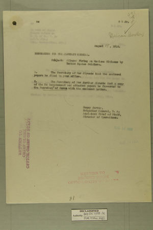Memo from Henry Jervey re: Alleged Firing on Mexican Citizens by United States Soldiers, August 15, 1918