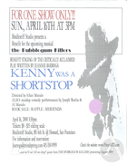 Flyer for benefit staging by Bindlestiff Studio of Kenny Was A Shortstop by Jeannie Barroga in San Francisco, CA on April 16, 2000. Benefit was held for an August 2000 production of Barroga's musical the Bubblegum Killers.