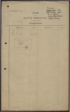 Branch Memoranda re: Application for Commission from N. L. Ward, 1918