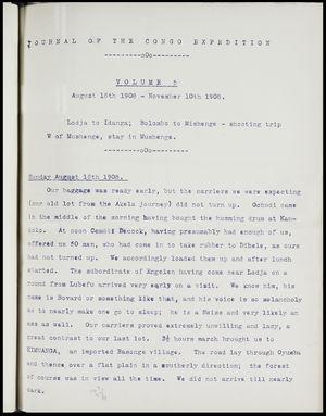 Journal of the Congo expedition, 1908, Volume 5: 6 Aug. 1908-10 Nov. 1908: Lodja to Idanga