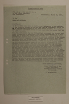 Letter to the Mayor of Willmars from the Peace Committee of the VVMAS Thuringia Machine Loaning Station Grimmenthal, March 20, 1951