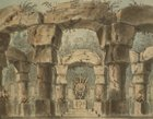 Italy, Venice, Set design for Norma by Vincenzo Bellini for performance at Teatro La Fenice in Venice
