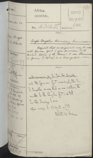 Anglo-Congolese Boundary Commission: Requested Arrangement with German Government, 1906