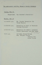 Ambassador and Mrs. Meyer's Schedule May 22-23, 1966