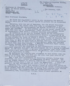 Barrie Reynolds, Keeper of Ethnography, RLI, to MG, 8 Jan. 1958