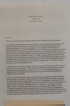 Letter from Bill Clinton to Paul Simon re: Rwanda