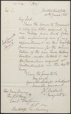 Letter from J. C. Ardagh to Lord Dufferin, June 16, 1881
