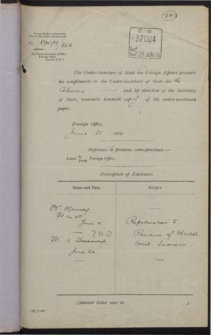 Correspondence re: Repatriation to Panama of British West Indians, June 15-20, 1919