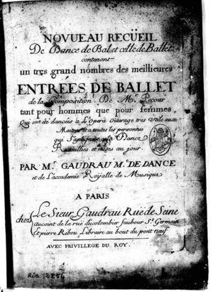 Novueau Receuil De Dance de Bal et cette de Ballet