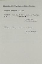 Ambassador and Mrs. Meyer's Social Schedule, December 18, 1965