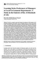 Learning Styles Preferences of Managers at Local Government Departments: A Study in the Emirate of Ras Al Khaimah (UAE)