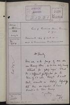 Correspondence Cover Sheet re: Richard Hein, German Prisoner of War, May 4, 1916