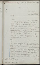 Letter from Captain W. Wiseman to Rear Admiral Algernon C. F. Heneage re: Proceedings at Isthmus, April 5, 1889, with Telegram from Admiralty, re: Route, March 29, 1889