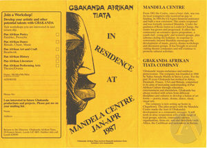 Flyer for the Gbakanda Afrikan Tiata Company, Leeds, England, 1987