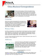 China Business Correspondence