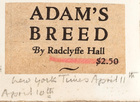 Title Scrap for Adam's Breed by Radclyffe Hall (New York Times - April 10/11)