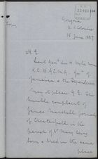 Memo from George F. Annesley to H. E. re: Gorgona Police Violence, June 15, 1887