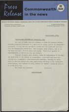 Press Release - Commonwealth in the News - Commonwealth Consulted on Immigration Bill, November 2, 1961