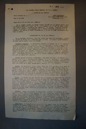 Carta Circular No. 4, Heloise Brainerd to Comisión Interamericana de la Liga Internacional Feminina por Paz y Libertad , 14 Mayo 1938