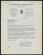 Letter from Richard C. Rothschild to Ruth Benedict, May 17, 1943