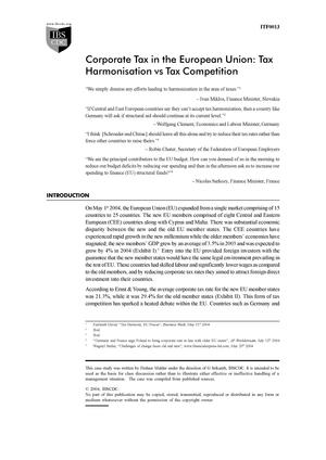 Corporate Tax in the European Union: Tax Harmonization Vs