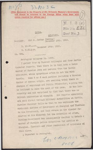 Communiques from Sir J. Jordan to Foreign Office, with Multiple Enclosures, re: Russian and German Activities in China, 1915