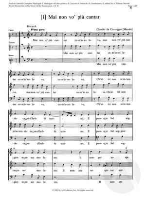 [1] Mai non vo' più cantar