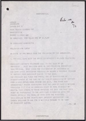 Confidential Cypher from Chalmers to Immediate FCO, September 11, 1978