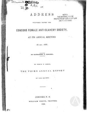 An Address Delivered Before the Concord Female Anti-Slavery Society, at Its Annual Meeting, 25 Dec. 1837