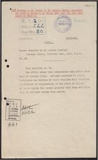 Deciphered Telegram from Foreign Office to Mr. Beilby Alston re: Officer Commissions Effective on Date of Departure from China, February 14, 1917