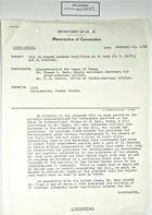 Memo of Conversation from Dept. of State to IBWC & U.S. Consul, Ciudad Juarez, re: K. Regan, T. C. Mann, & T. R, Martin Discuss H.R. 6120 Bill to Expand Custom Facilities at El Paso & El Chamizal, February 15, 1952