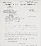 Letter from Barbara Pym, International African Institute, to MG, 3 July 1969